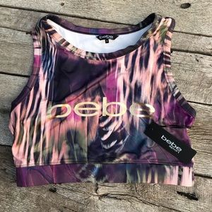 NWT BeBe Plus Size Feather Sports Bra/Crop Top